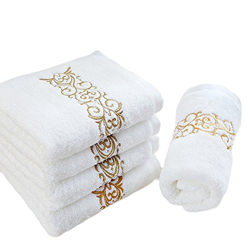 6PCS Set Fingertip White Towels Bathroom, 27X15 Inch Decorative Hand Towels For Powder Room, 800GSM White Washcloths, Machine Washable Luxury Monogram Towel With Golden Washrag For Baby Rags Washcloth