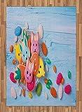 ABAKUHAUS Coniglietto di Pasqua Moquette Tessuta Piatta, Biscotti di Festa, per Soggiorno Camera da Letto Sala da Pranzo, 160 x 230 cm, Mehrfarbig