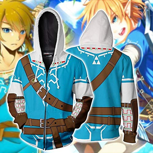 Hoodies The Legend of Zelda Cosplay Capuche Anime Impression 3D Sweat à Capuche Veste Zipper H-M