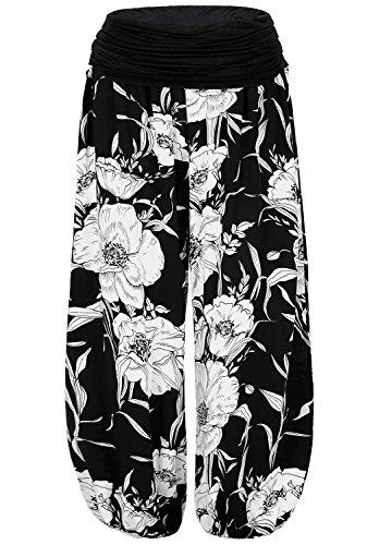 BAISHENGGT Mujer Pantalones Harem con Cintura Elástica Negro Floral Talla Unica