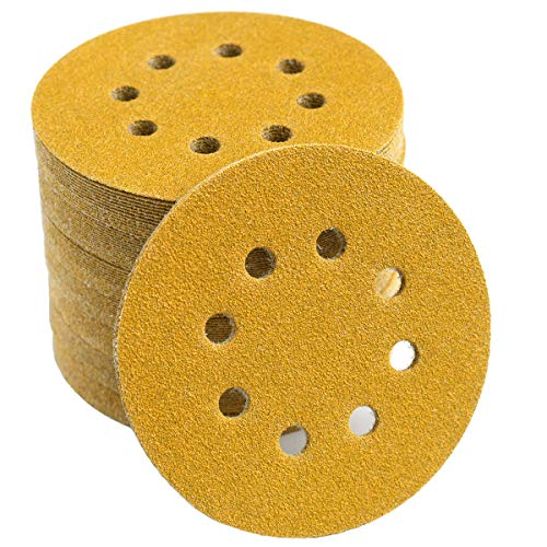 5-Inch 8-Hole Hook and Loop Sanding Discs 80-Grit Random Orbit Sandpaper, 100-Pack