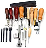 Leather Tools Kit Stitching Punch Sewing Carft DIY Tool Carving Craft Saddle Working Groover and 18pcs for Making Leather Hand Tools Set