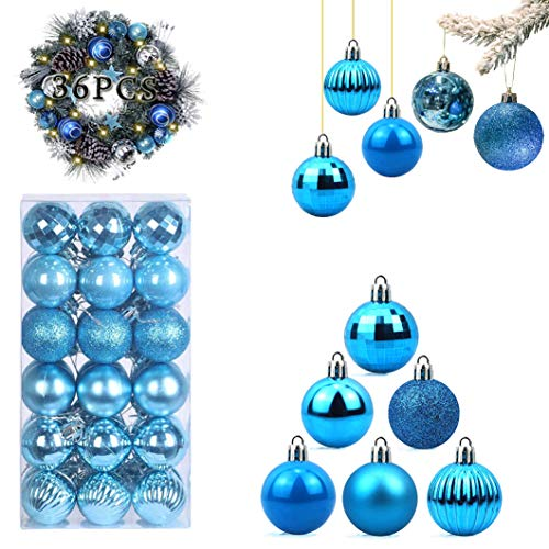 WELLXUNK Bolas de Navidad, 36 Bolas de Decoración Navideña, Bolas de Adornos Navideños BrillantesNavideño para Colgar en la Pared Adornos (Azul)
