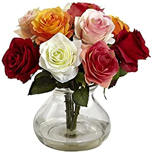 Nearly Natural Rose Arrangement with Vase 1 Artificial Plant, Assorted