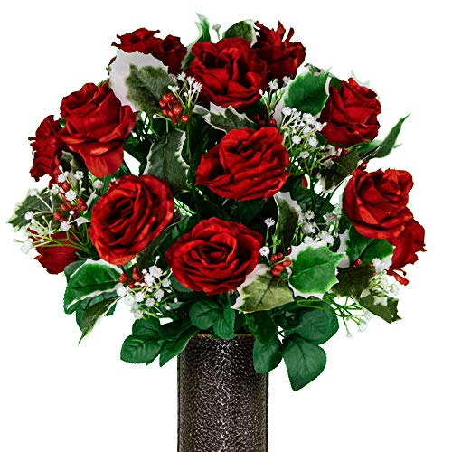 Sympathy Silks Artificial Cemetery Flowers - Ruby Red Roses with Variegated Holly and Berries - vase not Included