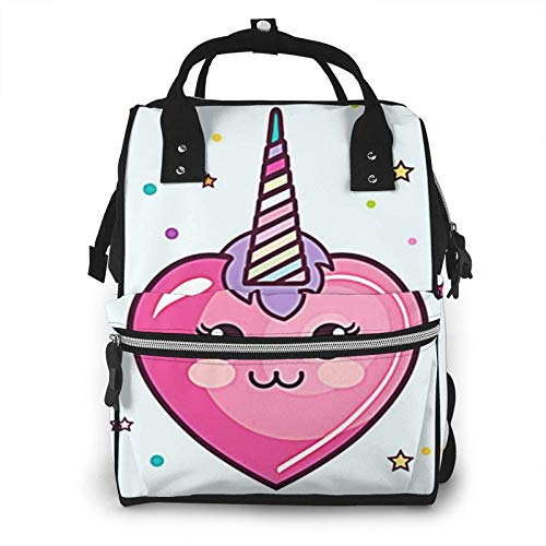 Nappy Changing Bag Backpack, Large Diaper Bags Baby Kawaii Heart Pink Multi-Function Waterproof Maternity Nappy Back Pack for Baby Care Mom Dad Travel