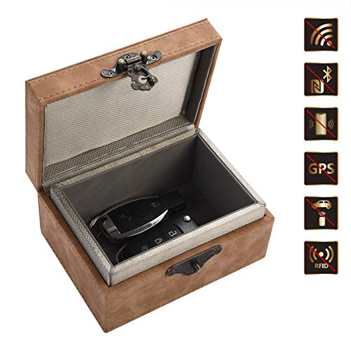 Auto Key Signal Blocker Box, Faraday Box voor autosleutels, Keyless Entry Fob RFID Blocking Pouch, Lederen Anti-Diefstal Faraday kooi, Sleutelhanger Opbergdoos, Veilige beveiliging voor Remote Smart Keys, Large, BRON