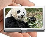 Estuche para tarjetas de visita, delantal Estuche para tarjetas de visita con soporte para tarjetas de visita de panda (acero inoxidable)
