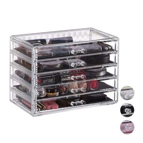 Relaxdays Kosmetik Organizer, 5 Schubladen, Acryl, Schubladenbox für Make Up & Schmuck, Schutzeinleger, transparent