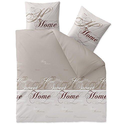 CelinaTex Touchme Biber Bettwäsche 200 x 200 cm 3teilig Baumwolle Bettbezug Sarah Wörter beige braun weiß