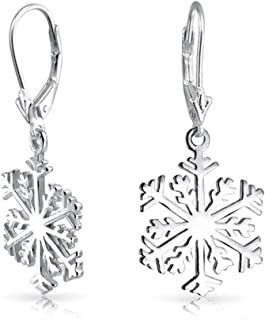 Winter Christmas Holiday Snowflake Dangle Leverback Earrings For Women For Teen Polished 925 Sterling Silver