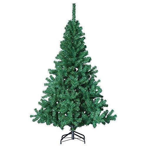 havalime Künstlicher Weihnachtsbaum, Christbaum - Ausklappbare Zweige aus PVC, Stamm aus Metall, inklusive Plastikfuß (150 cm)