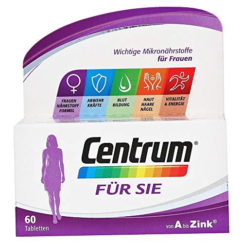 Centrum Für Sie – Hochwertiges Nahrungsergänzungsmittel mit Mikronährstoffen – Speziell für Frauen – Vitamine, Mineralstoffe, Spurenelemente – 1 x 60 Tabletten