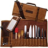 Chef Knife Waxed Canvas Genuine Leather Roll Bag | 22 Pockets for Knives & Kitchen Utensils...