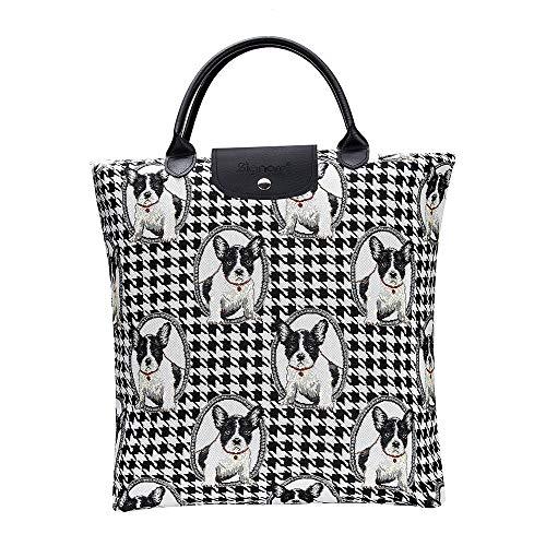 Signare Tapestry Foldable Tote Bag Reusable Shopping Bag Grocery Bag (French Bulldog)