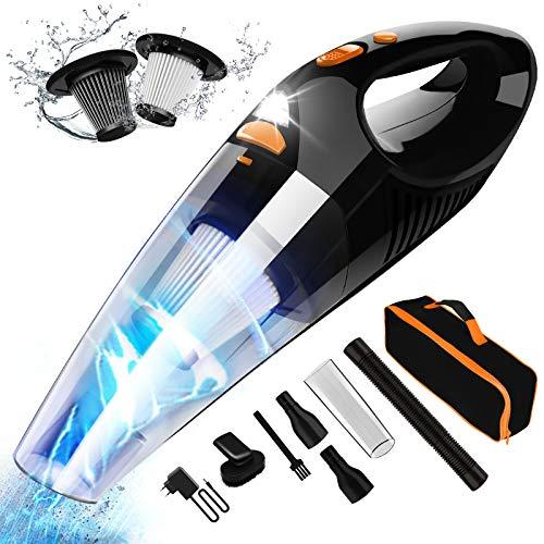 AOKBON Aspirador Coche 8500PA 120W Aspirador de Mano Potente Sin Cable HEPA Filtro de Acero Inoxidable con Bolsa de Transport y Luz LED para Hogar y Coche