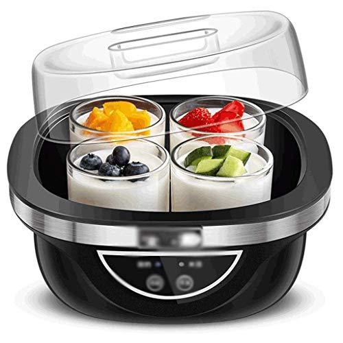 NMDD Joghurthersteller Maschine Haushalt Automatisch einstellbare Temperatur Zeit Automatisch 4 Glas Split Cup Liner Perfekt für Baby, Kinder