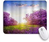 マウスパッド 個性的 おしゃれ 柔軟 かわいい ゴム製裏面 ゲーミングマウスパッド PC ノートパソコン オフィス用 デスクマット 滑り止め 耐久性が良い おもしろいパターン (カントリーガーデン朝の花の木ラベンダー草晴れた空アート自然の下で)