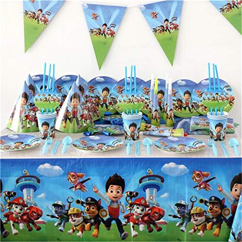 PPuujia Decoración de fiesta de cumpleaños 106 piezas Patrulla Canina Tema Bebé Ducha Niños Decoración de Cumpleaños Boda Evento Fiesta Suministros Varios Vajilla Juegos