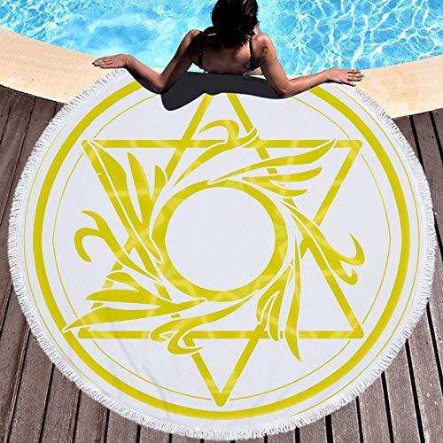 BCDJYFL 3D Toalla De Playa Estrella De Seis Puntas Manta De Picnic Portátil Ligera Resistente Picnic Y para Actividades Al Aire Libre De Viaje Camping.Diámetro: 150Cm