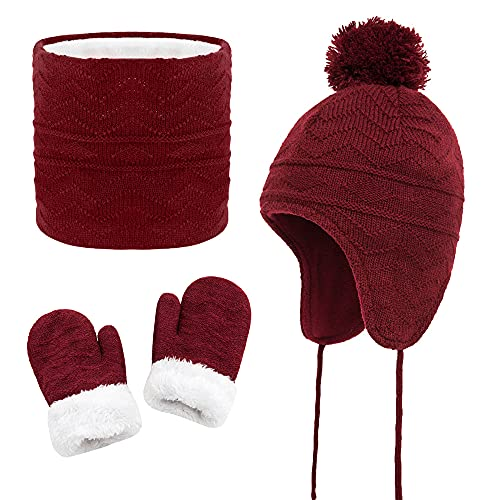 HUIYAO Hat Scarf and Gloves Set Kids Toddler Baby Knit Earflap Beanie Winter Warm Fleece Cap for Boys Girls Wine Red