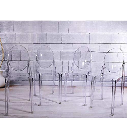 Lot de 4 Ghost Chaises en Acrylique Polycarbonate pour Salle à Manger, Salon, Bureau, Restaurant et Jardin, Dressing Mariages, 91 x 35 x 48 cm
