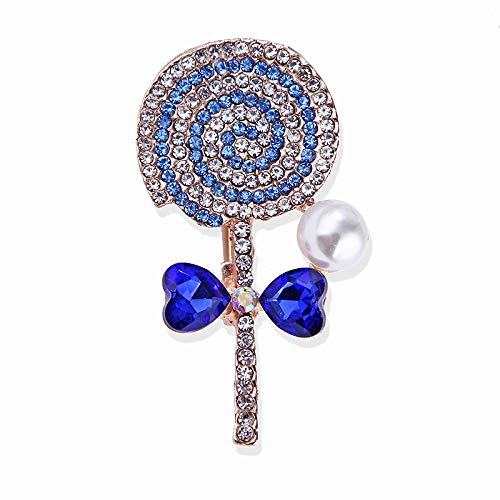wangk Lindo Arco piruleta Broche Dulce Perla Simple Bufanda joyería para Las Mujeres niñas Encanto broches Accesorios Regalo Blue