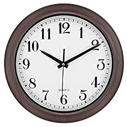 Hedume Round Wall Clock Silent Non Ticking, 13 Inch Quality Quartz Battery Operated Easy to Read Waterproof Wall Clock for Home, Office, Classroom, School (Brown Stripes)