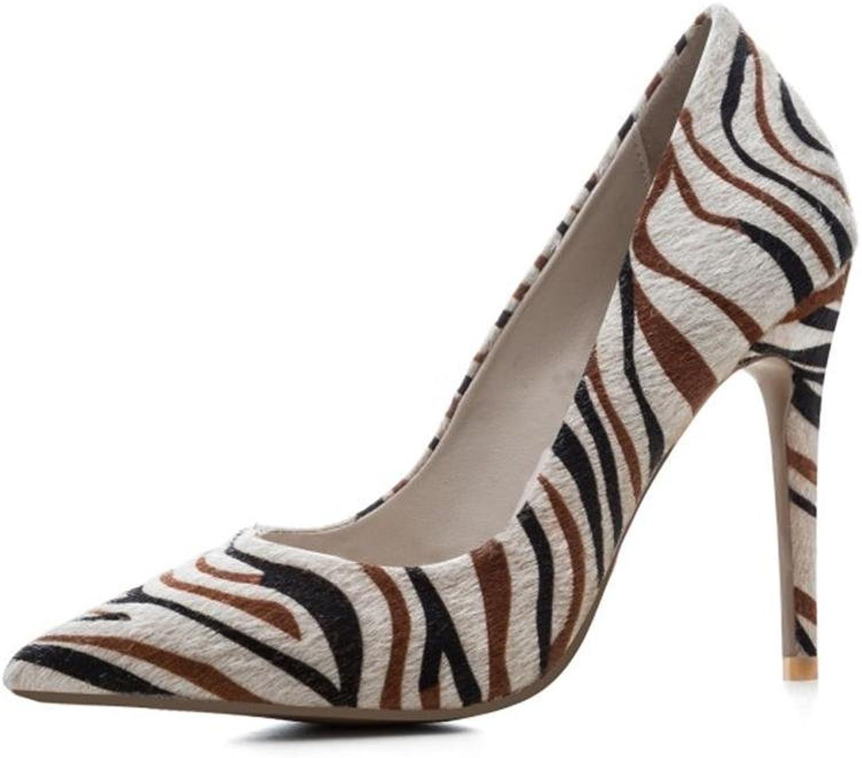 Damen Hoch Hacke Spitz Gericht Clever Party Arbeit Zebra Muster Schuhe Pumps Gre