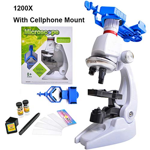 MUCC 450X / 1200X Kinder Spielzeug Biologisches Mikroskop Set Geschenk Monokular Mikroskop Biologischer Anfänger Mikroskop STEM Kit,2