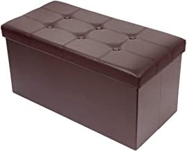 BRIAN & DANY 30L Faux Leather Folding Storage Ottoman Bench,Storage Chest, Perfect Toy and Shoe Chest, Foot Rest,Coffee Table,Folding Bench Chest with Cover (Brown)