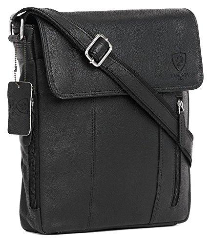 100% Pure Genuine Real Vintage Hunter Leather Handmade Mens Women Leather Flapover Everyday Crossover Shoulder Work iPad Messenger Bag (Black)