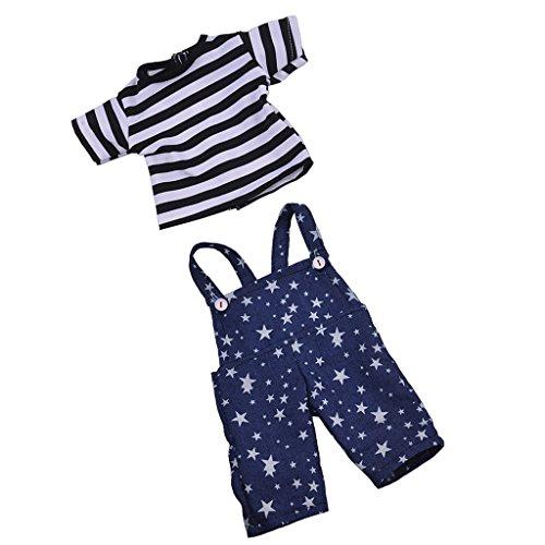 Sharplace Puppe Gestreiftes T-Shirt mit Stern Gedruckt Hosenträger Hose, Puppenkleidung Set Für 18 Zoll American Girl Puppen