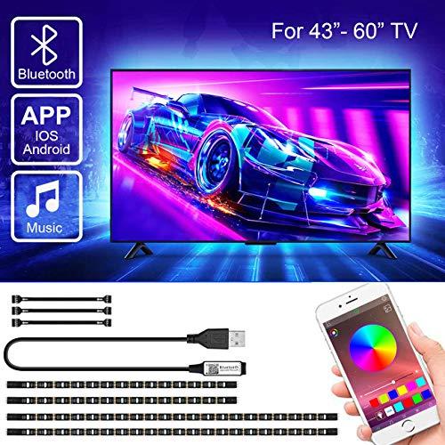 LED TV Hintergrundbeleuchtung mit APP-Steuerung, SRUIK Upgrade 3M USB LED Strip für 43-60 Zoll Fernseher, Synchronisierung mit Musik, Vorspannungs Beleuchtung, SMD5050 RGB für Android iOS