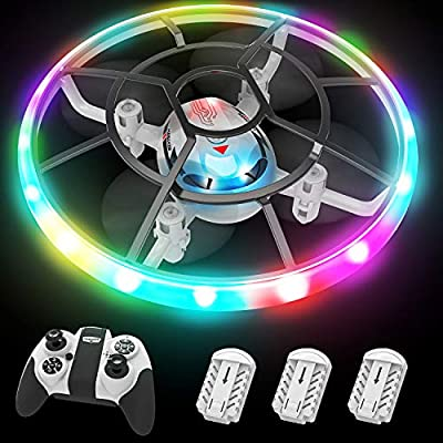 Q7 Mini Drone for Kids,RC Helicopter with Altitude Hold and Headless Mode,Quadcopter with Neno Lights,Propeller Full Protect and 3PCS Batteries,Kids Toys for Boys Girls