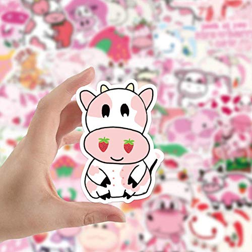 No/Brand Cute Strawberry Milk Cow Graffiti Stickers Suitcase Guitar Car Stickers Waterproof Stickers 50pcs