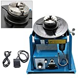 110V Rotary Welding Positioner Turntable Table Mini 2.5' 3 Jaw Lathe Chuck 180mm Portable Welder Positioner Turntable Machine Equipment 2-10 r/min Adjustable Speed