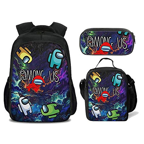 3Pcs Among us Backpack for Boys with Lunch Box Kids School Bags Student Bookbag for Girls Teens Game Fans Gifts (Color 8)