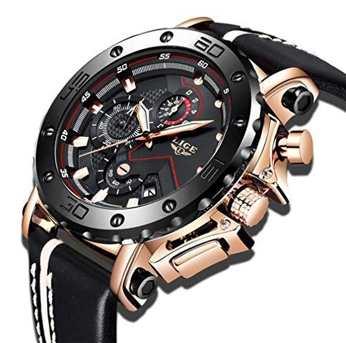 LIGE Relojes para Hombre Reloj Deportivo de Cuarzo analógico a Prueba de Agua para Hombre Oro Cronógrafo Dial Grande Moda Militar Reloj de Caballero de Cuero Negro