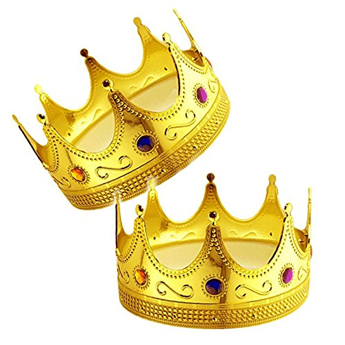 Adorox 2 pcs Gold Royal King Plastic Crown Prince Costume Accessory