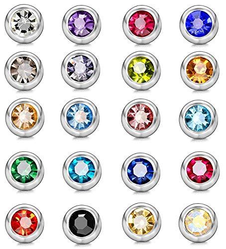 Finrezio 20 Stücke 14G Edelstahl Piercing Kugel Piercing Aufsatz mit Zirkonia Ersatzkugeln Piercing für Frauen 5mm