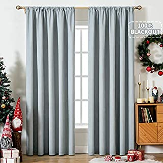MIULEE 100% Blackout Curtains for Bedroom Darken Rod Pocket Large Window Curtains for Light Block Out and Thermal Insulate...