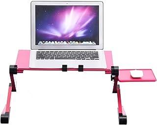 DELMO Soporte de Mesa Plegable para Escritorio de Computadora Portátil 360 ° Ajustable con Enfriamiento Doble Tablero de Mouse de Ventilador