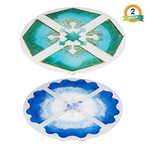 LET'S RESIN Silicone Resin Coaster Molds,2PCS Geode Agate Coaster Molds,Interlocked Epoxy Resin Casting Molds for Making Agate Geode Slice Coasters,Cup Mats,Jewelry Holders Dish, Home Decoration