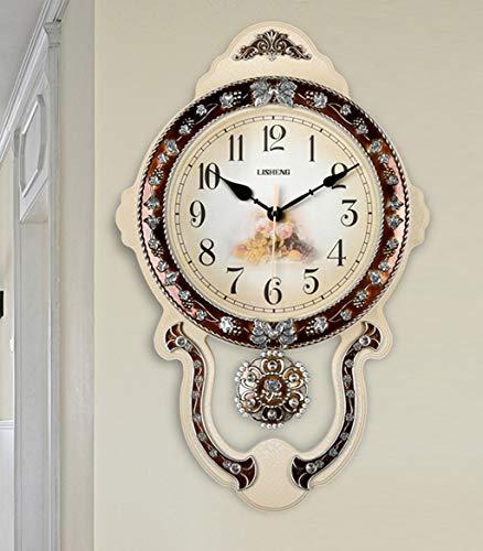 Style européen Salle de séjour calme Horloge murale Chambre Horloge Salle à manger Pendule Horloge Personnalité Créative Horloge Swing Table Horloge murale Pastorale