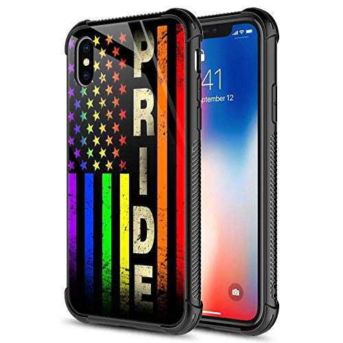 iPhone XR Case, Colorful Pride Flag Pattern Tempered Glass iPhone XR Cases for Mens [Anti-Scratch] Fashion Design Cover Case for iPhone XR