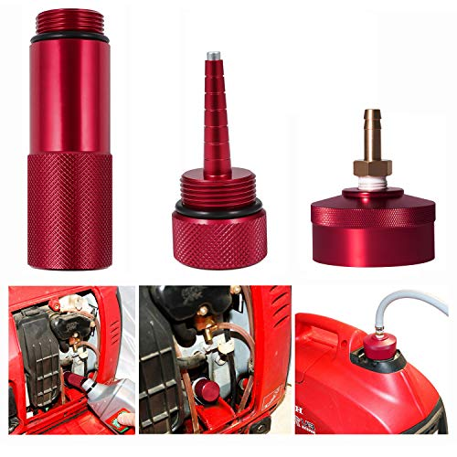 Aluminum Extended Run Gas Cap with Brass Hose Fitting, Mess Free Oil Change Funnel & Magnetic Oil Dipstick Fit for Honda Generator EU2200I - Complete Combo Kit (Red)