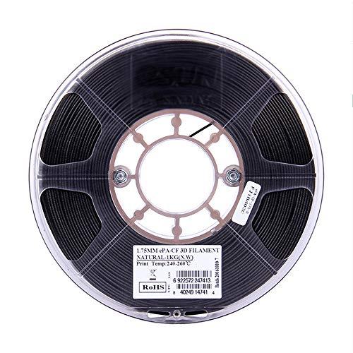 PA-CF Filamento de fibra de carbono de nylon 1.75 mm, filamento de impresora 3D 1 kg (2.2lb), 80% de nylon + 20% de fibra de carbono