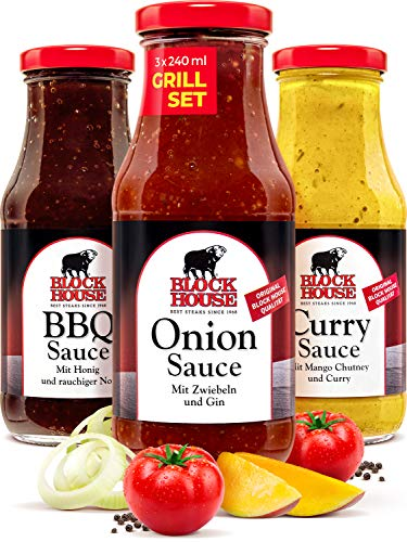 Block House Grillsaucen Set Black Line - Onion, BBQ und Curry Sauce