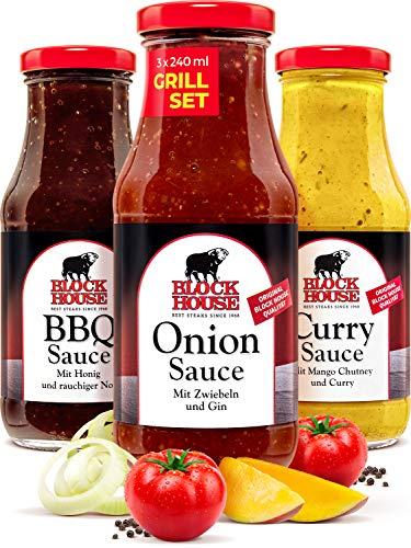 Block House Grillsaucen Set Black Line - Onion, BBQ und Curry Sauce